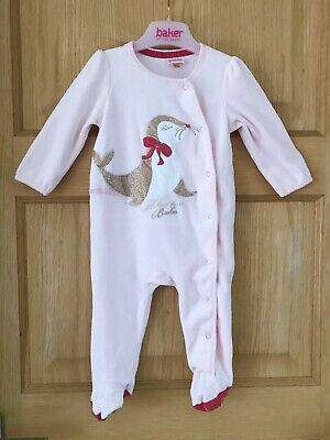 TED BAKER *3-6m BABY GIRLS PINK DESIGNER ROMPER SLEEPSUIT BABY GROW  3-6 MONTHS
