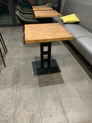 Wooden Top Cafe/Bistro/Restaurant Table With Metal Base Ref A
