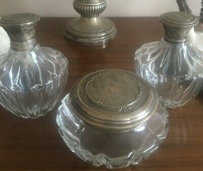 Antique 800 Hallmarked Solid Silver Crystal Dressing Table Set 3 Perfume Bottles