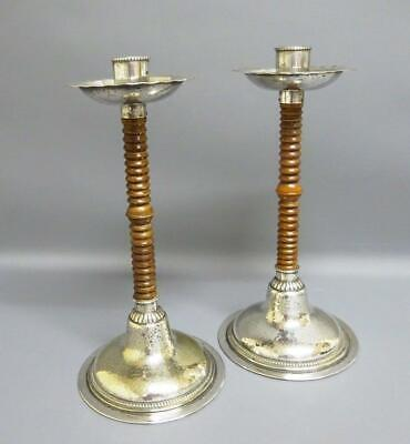 Very Rare German WMF Candlesticks with Wooden Stems and French Export mark c1910