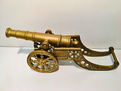 Large Solid Brass Vintage Canon. Very Heavy
