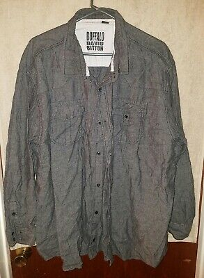 New $79 Buffalo David Bitton Men/'s Sifscot Graphic Print Casual Shirt Walnut