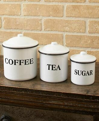 Set Of 3 Canisters Country Enamelware Kitchen Counter Food Storage Home Decor