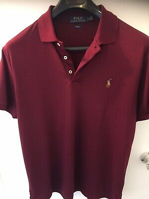 Ralph Lauren Polo Shirt Mens Large Slim Fit Wine Burgundy Pit To Pit 21""