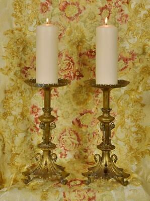 Exceptional Pair Antique French Brass Church Pricket Candlesticks, 19th Century