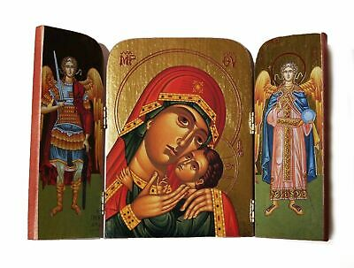Greek Russian Orthodox Wooden Icon Triptych Mother of God 10x14 cm