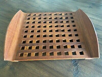 Vintage Mid Century Modern Teak Wood Serving Tray JHQ Jens Quistgaard Lattice