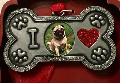 Dog Bone Picture Frame Keepsake Ornament w/ Bling Paws Red Heart & Ribbon - NEW