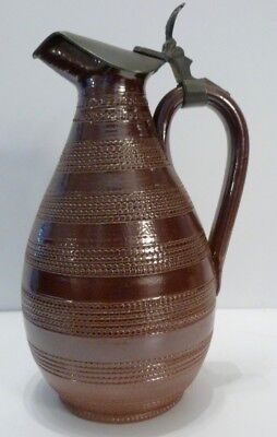 Antique Pitcher Sandstone with Lid Tin