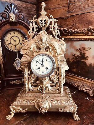 Large Ornate Brass French Clock Set Brass Mantle Clock Lion Decor