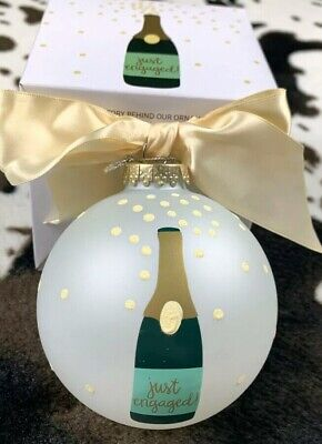 Coton Colors by Lauren Conrad Just Engaged Wedding Glass Christmas Ornament New