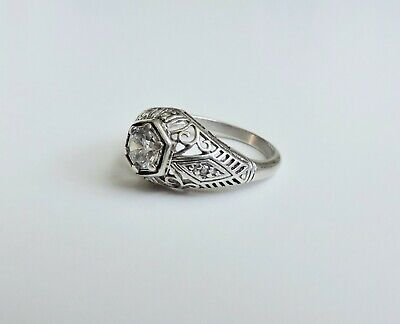 Vintage Sterling Silver Art Deco / Victorian Style Filigree Ring Size 5