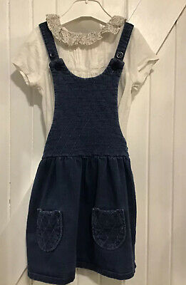 Next Girls age 2-3 years Blue Pinafore Dress  & Frilled Collar Top Soft Jersey