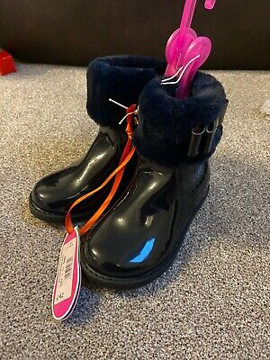 Infant Girls Black Ted Baker Ankle Boots With Fur Size 9 Brand New With Tags