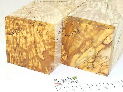 2 English Spalted Beech woodturning or carving blanks.  65 x 65 x 330mm.  4197A