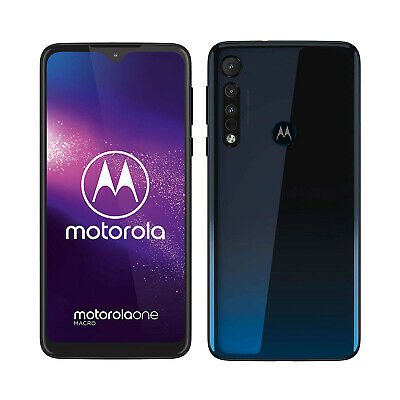 New Motorola Moto One Macro Space Blue 64GB LTE 4G Andr 9.0 Unlocked Sim Free