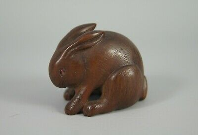 V Fine Antique Japanese 18/19Th C Edo / Meiji Carved Wooden Rabbit Hare Netsuke
