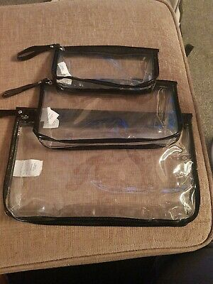 HOLIDAY TRAVEL TOILETRIES BAGS X 3 - Clear Plastic Airline Airport Toiletry Bags