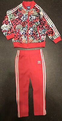 ADIDAS Girls Bright Floral Print Tracksuit Age 3-4 Years BNNT