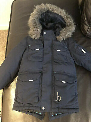 Boys Navy Hooded Ted Baker Coat Age 5 Very Good Condition.