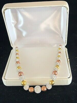 14k Gold Over Silver & Sterling Silver Tri-Tone Bead Necklace MSRP $600.00