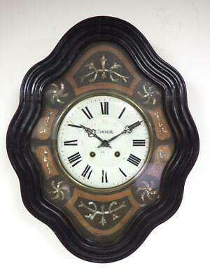 Antique French Vineyard Wall Clock Ebonised Glazed Case 8 Day MOP Inlay Working