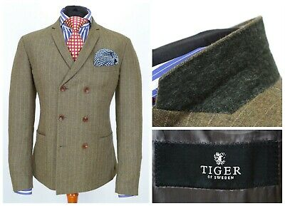 Mens Tiger of Sweden Sharpe Double Breasted Suit Jacket Green Wool EU52 / UK42