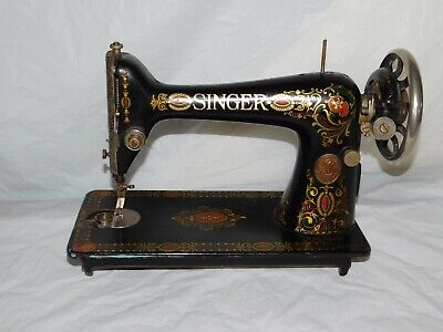 Antique Singer treadle sewing machine Red Eye sew vintage great graphics old 20s