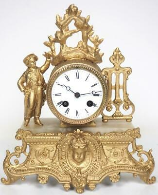 Antique French 8 Day Gilt Metal Mantel Clock Original 8Day Striking Mantle Clock