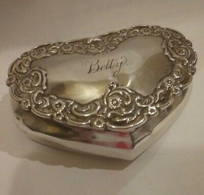 PRETTY LARGE ANTIQUE SOLID SILVER PILL BOX  HEART SHAPE EMBOSSED Birm 1897
