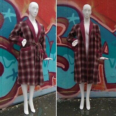 Mens Vintage Wool Dressing Gown 1950s  Rope Braid Maroon Grey England Darn Large