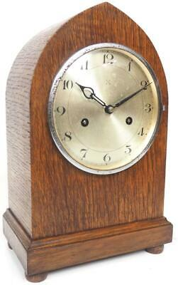 Good Antique Tiger Oak Mantel Clock 8Day Striking Bracket Clock Lancet Case HAC