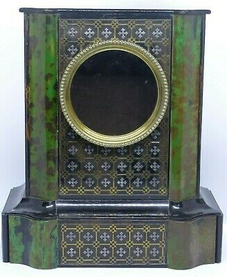 RARE Antique French Late 19th Century Boulle faux Green Tortoiseshell Clock Case