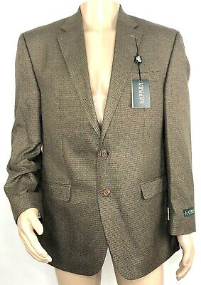 Ralph Lauren Mens 2-Button Blazer Sport Coat Size 42 Regular Brown Houndstooth