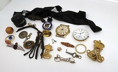 x23 Vintage Collectable Items inc. Brooch Watch Movement Ring etc #16686
