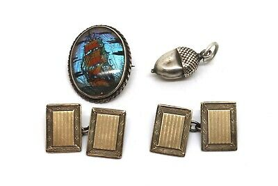 x3 Antique Vintage Sterling Silver 925 Butterfly Wing Cufflinks Charm 11.4g