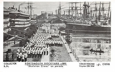 R231560 Collector R. N. Portsmouth Dockyard. Skeleton Crews on parade. Collector