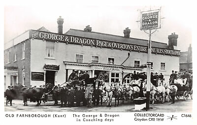 R231667 Old Farnborough. Kent. The George and Dragon in Coaching days. Horse. Co