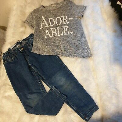 Girls 4-5 years Bundle adorable t-shirt Top skinny jeans trousers outfit Next Da