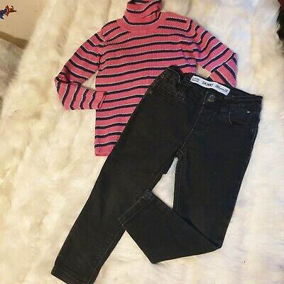 Girls 3-4 years Bundle roll turtle neckTop & black skinny jeans outfit Next Day