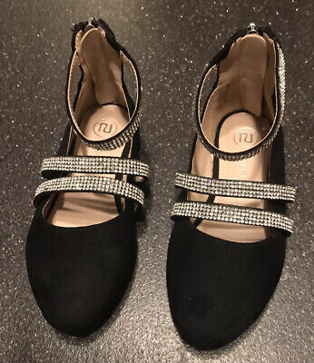 Girls River Island Black Sparkly Party Shoes Size 8 Toddler VGC