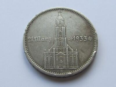 Germany Silver 5 Mark dated 1934 A Potsdam Church - Good filler/collectable coin