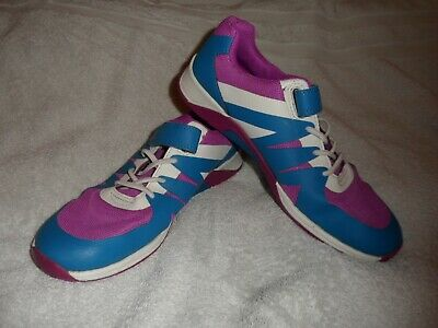 Girl's Clarks trainers size 2.5F in great condition - purple, blue and white