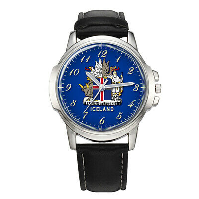 Iceland Coat Of Arms Mens Gents Wrist Watch Gift Birthday Gift Engraved