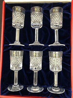 Set of 6 Cristal de Sevres Cordial Stems Glasses Cartier Box France Cut Crystal