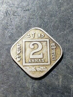 British India 1919 King George V Emperor Two Annas Coin #223