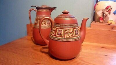 antique Victorian Egyptian revival pratt ware pottery teapot and jug