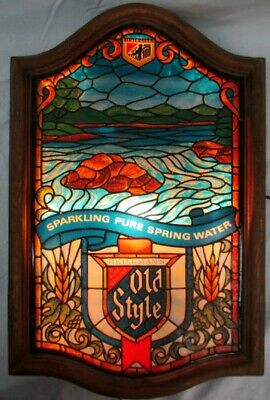 Vintage Heileman Old Style Beer Lighted Bar Sign Stained Glass STYLE