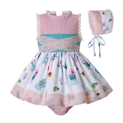 Romany Baby Girl Princess Dress With Knickers and Bonnet Set Birthday Party Prom