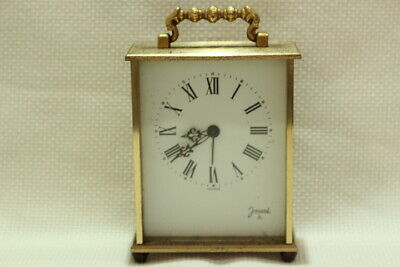Antique 8 day Carriage Clock Jaccard with Porcelain Dial Working